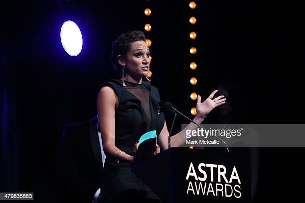 Nicole da Silva winner of Most Outstanding Performance By A Female Actress speaks during the 12th ASTRA Awards at Carriageworks on March 20 2014 in...