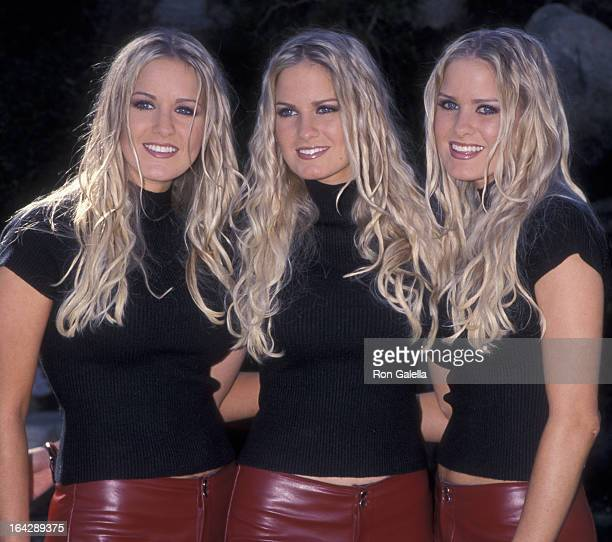 Nicole Dahm Erica Dahm and Jaclyn Dahm attend Playboy Playmate Video Press Conference on December 2 1999 at the Playboy Mansion in Beverly Hills...