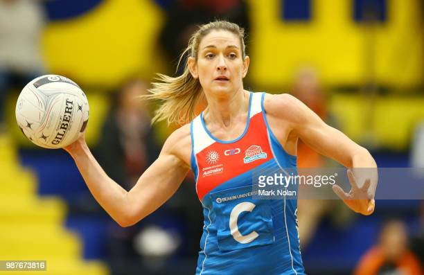 Nicole Deegenaars of the Waratahs in action during the Australian Netball League semi final between the NSW Waratahs and Tasmanian Magpies at the ACT...