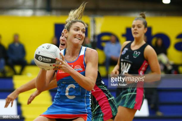 Nicole Deegenaars of the Waratahs in action during the Australian Netball League third place playoff between the NSW Waratahs and Victoria Fury at...