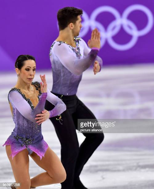 Nicole Della Monica and Matteo Guarise from Italy in action during the figure skating pairs short program of the 2018 Winter Olympics in the...