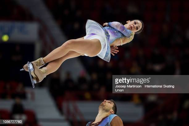 Nicole Della Monica and Matteo Guarise of Italy compete in the Pairs Free Skating during day two of the ISU Grand Prix of Figure Skating at the...