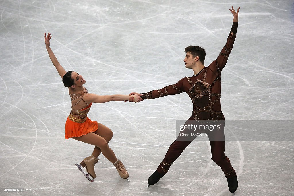 Nicole Della Monica and Matteo Guarise of Italy compete in the Pairs Short Program during ISU World Figure Skating Championships at Saitama Super Arena on March 26, 2014 in Saitama, Japan.