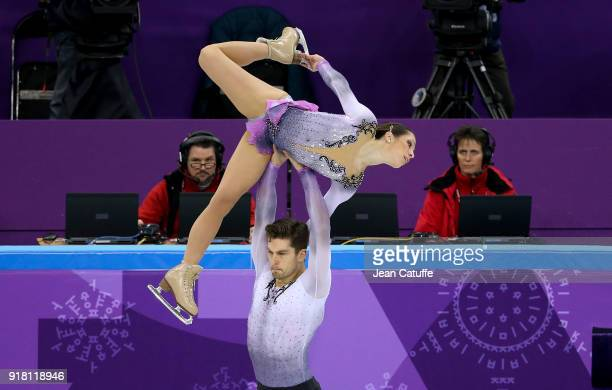 Nicole Della Monica and Matteo Guarise of Italy during the Figure Skating Pairs Skating Short Program on day five of the PyeongChang 2018 Winter...
