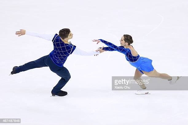 Nicole Della Monica and Matteo Guarise of Italy perform during the Pairs Short Program on day one of the 2015 ISU World Figure Skating Championships...