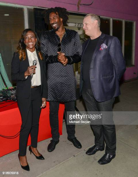Nicole Dickerson Amare Stoudemire and Eric Shiner attends Amare Stoudemire hosts ART OF THE GAME art show presented by Sotheby's and Joseph Gross...