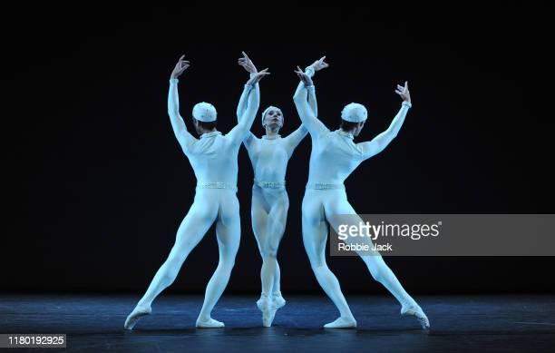 Nicole Edmonds,Melissa Hamilton and Reece Clarke in the Royal Ballet's production of Frederick Ashton's Monotones II as part of the Merce Cunningham...