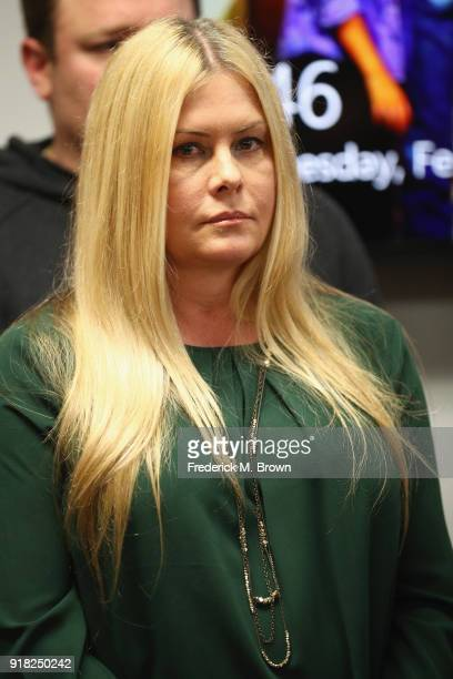 Nicole Eggert attends a press conference with Alexander Polinsky and attorney Lisa Bloom regarding sexual harassment allegations against Scott Baio...