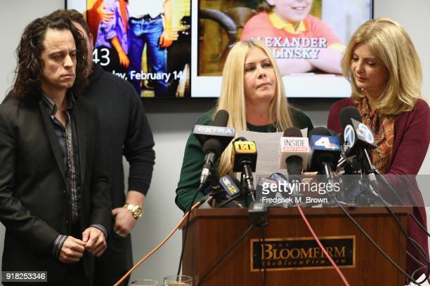 Nicole Eggert speaks during a press conference with Alexander Polinsky and attorney Lisa Bloom regarding sexual harassment allegations against Scott...