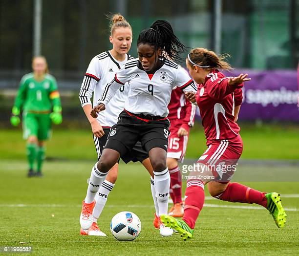 Nicole Etonam of of Germany is challenged by Signe Furmane of Latvia during the UEFA Under17 Girl's Euro Qualifier match Germany and Latvia at Hanza...