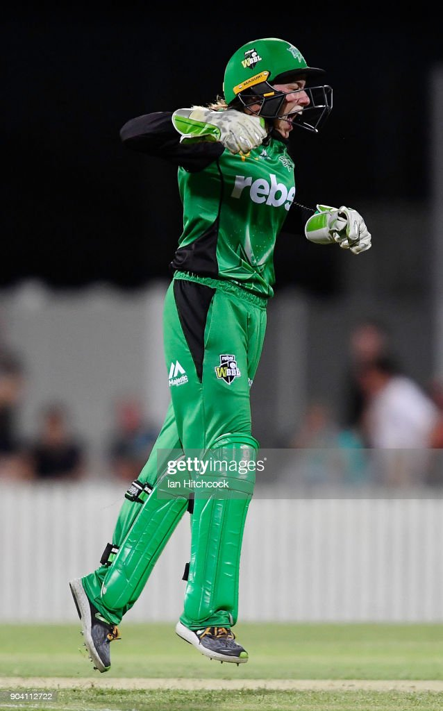 Nicole Faltum of the Stars celebrates after stumping Beth Mooney of the Heat during the the Women's Big Bash League match between the Brisbane Heat and the Melbourne Stars at Harrup Park on January 12, 2018 in Mackay, Australia.