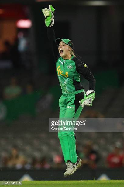 Nicole Faltum of the Stars celebrates the dismissal of Erica Kershaw of the Renegades during the Women's Big Bash League match between the Melbourne...