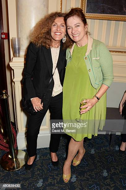 Nicole Farhi and Diana Quick pose in the foyer following the press night performance of Skylight at Wyndhams Theatre on June 18 2014 in London England