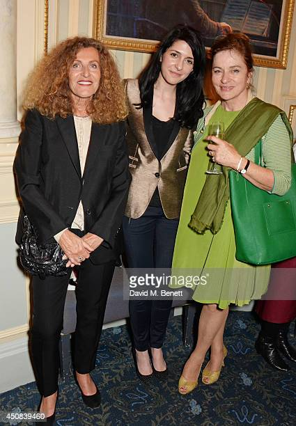 Nicole Farhi guest and Diana Quick pose in the foyer following the press night performance of Skylight at Wyndhams Theatre on June 18 2014 in London...
