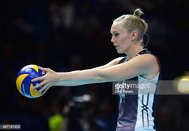 Nicole Fawcett of USA sets to serve during the FIVB Women's World Championship Final match between China and USA on October 12 2014 in Milan Italy