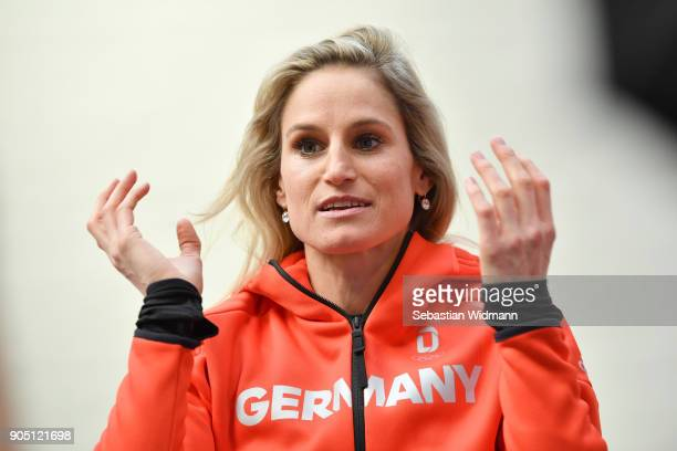 Nicole Fessel poses at the 2018 PyeongChang Olympic Games German Team kit handover at Postpalast on January 15 2018 in Munich Germany