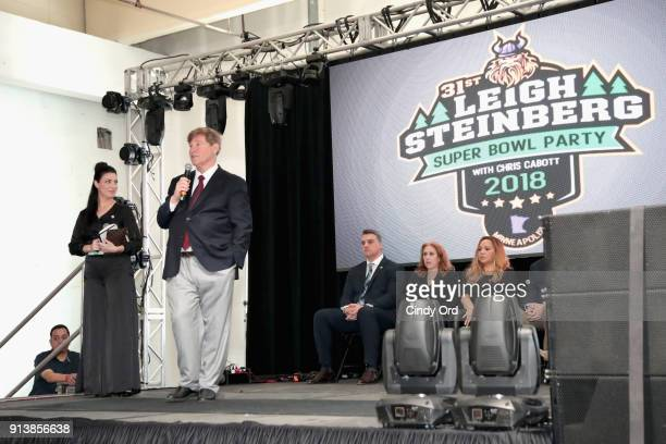 Nicole Fisher Leigh Steinberg Gus Frerotte Jackie Garrick and Alicia Duerson speak onstage during Leigh Steinberg Super Bowl Party 2018 on February 3...