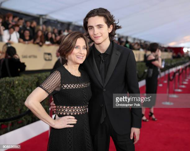 Nicole Flender and actor Timothee Chalamet attend the 24th Annual Screen Actors Guild Awards at The Shrine Auditorium on January 21 2018 in Los...