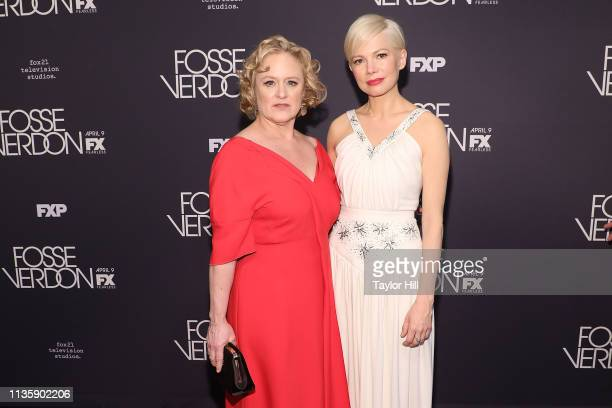 Nicole Fosse and Michelle Williams attend the premiere of Fosse/Verdon at the Gerald Schoenfeld Theatre on April 8 2019 in New York City