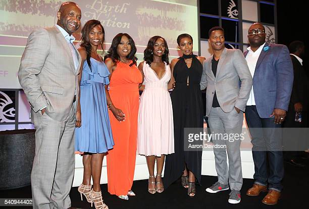 Nicole Friday Jeff Friday Star Jones Gabrielle Union Aja Naomi King and Nate Parker attends The American Black Film Festival first look at 'A Birth...