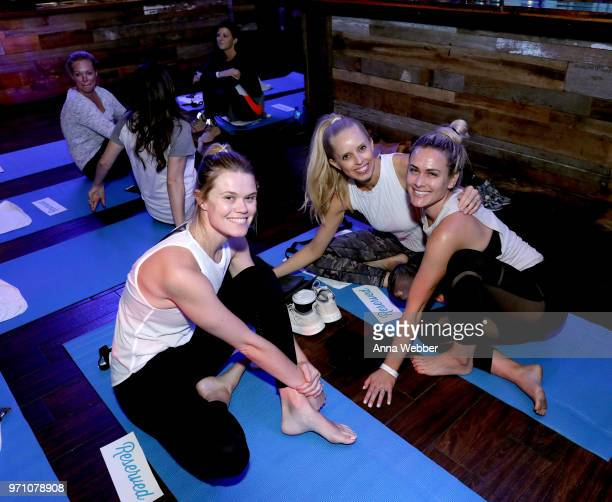 Nicole Galyon Laney Crowder and Caroline Hobby participate in Sip Sweat hosted by Tyler and Hayley Hubbard at FGL House on June 10 2018 in Nashville...