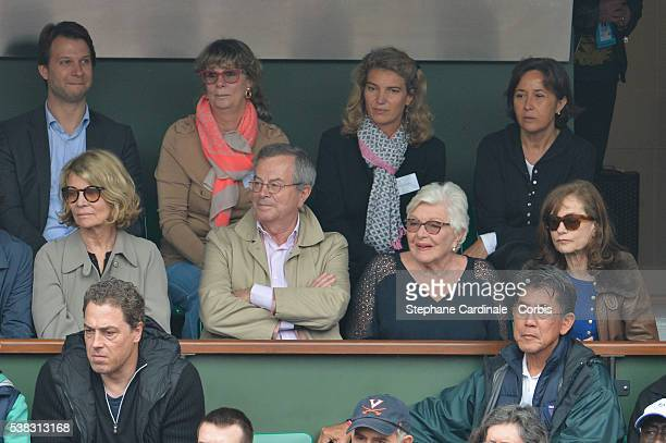 Nicole Garcia guest Line Renaud and Isabelle Huppert attend the French Tennis Open Day Fifteen with the Final between Novak Djokovic and Andy Murray...