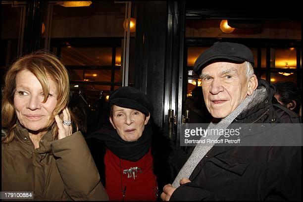 Nicole Garcia Milan Kundera and wife Vera at The 20th Anniversary Of La Regle Du Jeu Celebrated At The Cafe De Flore In Paris