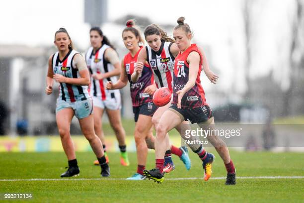 Nicole Garner of the Casey Demons in action during the VFL Women's round 9 game between the Casey Demons and Southern Saints at Casey Fields in...