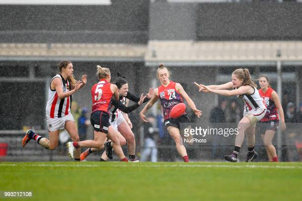 Nicole Garner of the Casey Demons kicks the ball during the VFL Women's round 9 game between the Casey Demons and Southern Saints at Casey Fields in...