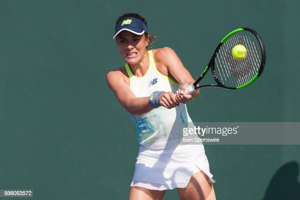 Nicole Gibbs competes during the qualifying round of the 2018 Miami Open on March 20 at Tennis Center at Crandon Park in Key Biscayne FL