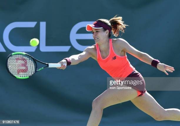 Nicole Gibbs hits a forehand shot during the second set of a quarterfinal match against Aja Tomljanovic during the Oracle Challenger Series played on...