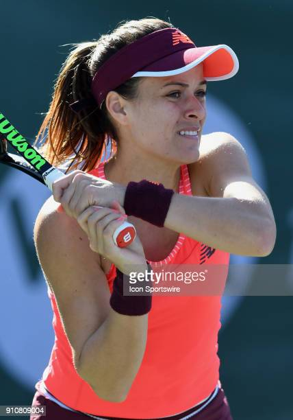 Nicole Gibbs in action during the first set of a quarterfinal match against Aja Tomljanovic during the Oracle Challenger Series played on January 26...