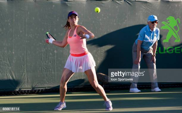 Nicole Gibbs in action during the second day of the qualifying round of the 2017 Miami Open on March 21 at Tennis Center at Crandon Park in Key...