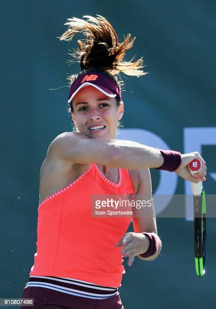 Nicole Gibbs in action during the second set of a quarterfinal match against Aja Tomljanovic during the Oracle Challenger Series played on January 26...