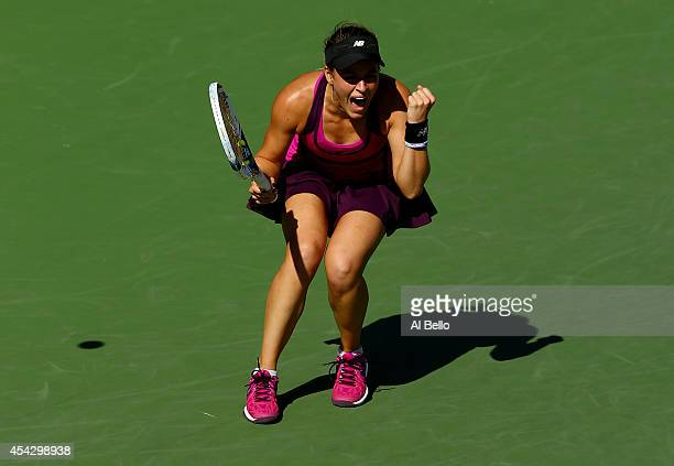 Nicole Gibbs of the United States celebrates after defeating Anastasia Pavlyuchenkova of Russia during their women's singles second round match on...