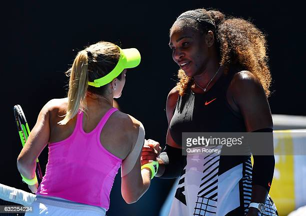 Nicole Gibbs of the United States congratulates Serena Williams of the United States on winning her third round match on day six of the 2017...