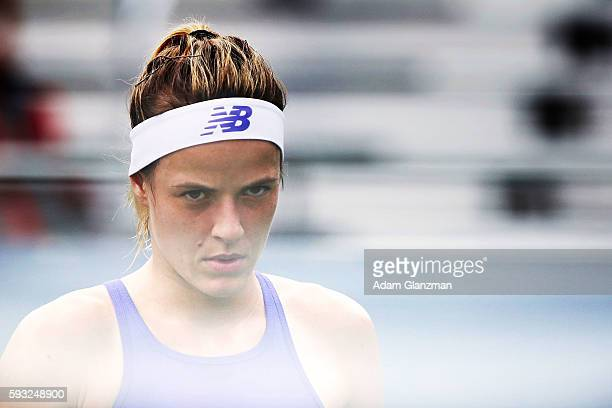 Nicole Gibbs of the United States looks on during the match against Evgeniya Rodina of Russia on day 1 of the Connecticut Open at the Connecticut...