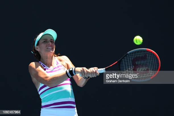 Nicole Gibbs of the United States plays a backhand in her match against Viktorija Golubic of Switzerland during Qualifying ahead of the 2019...