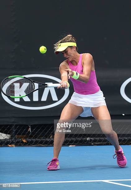 Nicole Gibbs of the United States plays a forehand in her first round match against Timea Babos of Hungary on day two of the 2017 Australian Open at...