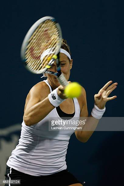 Nicole Gibbs of the United States plays against Elina Svitolina of Ukraine during day three of the Bank of the West Classic at the Stanford...