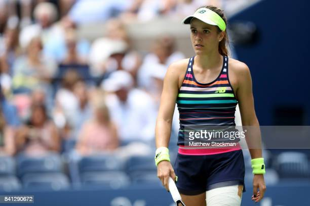 Nicole Gibbs of the United States reacts against Kristyna Pliskova of Czech Republic during their second round Women's Singles match on Day Four of...