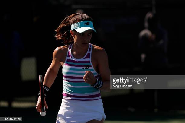Nicole Gibbs of the United States reacts in her quarterfinal match against Tatjana Maria of Germany on January 25 2019 in Newport Beach California