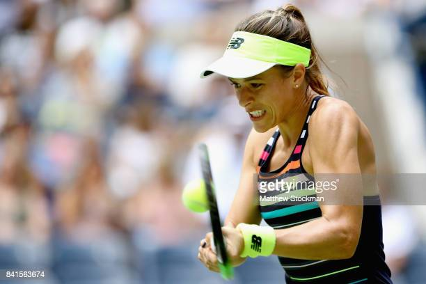 Nicole Gibbs of the United States returns a shot against Kristyna Pliskova of Czech Republic during their second round Women's Singles match on Day...