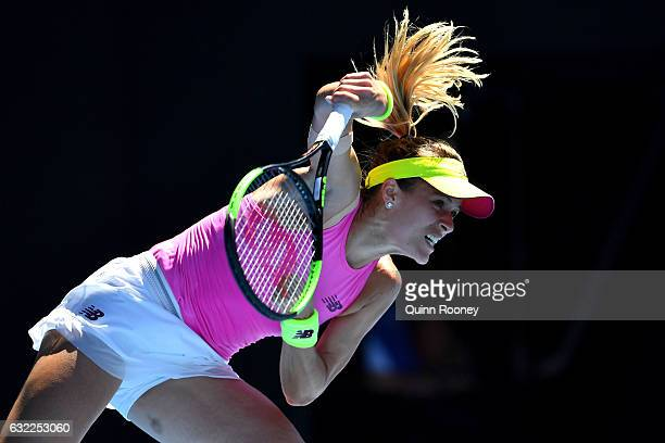 Nicole Gibbs of the Unites States serves in her third round match against Serena Williams of the United States on day six of the 2017 Australian Open...