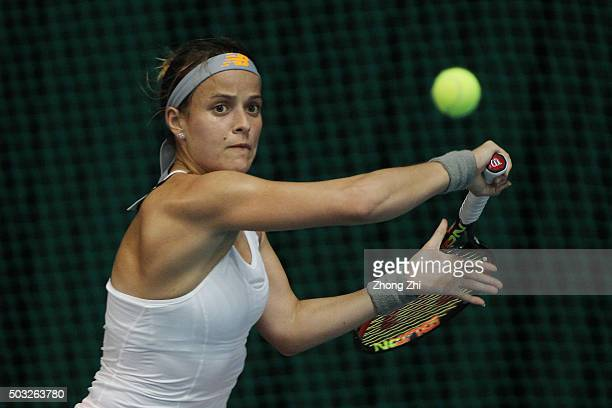 Nicole Gibbs of the US returns a shot during the match against MariaTeresa TorroFlor of Spain during Day 1 of 2016 WTA Shenzhen Open at Longgang...