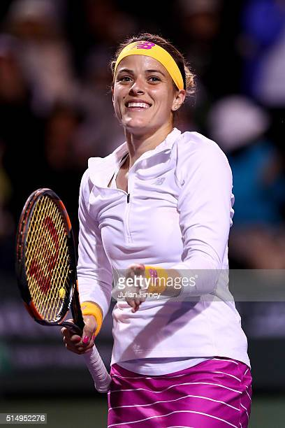 Nicole Gibbs of USA celebrates defeating Madison Keys of USA during day five of the BNP Paribas Open at Indian Wells Tennis Garden on March 11 2016...