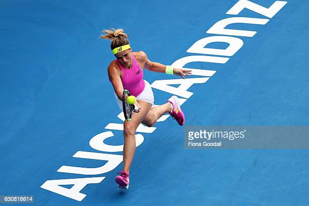 Nicole Gibbs of USA plays a forehand shot in her match against Caroline Wozniacki of Denmark on day two of the ASB Classic on January 3 2017 in...