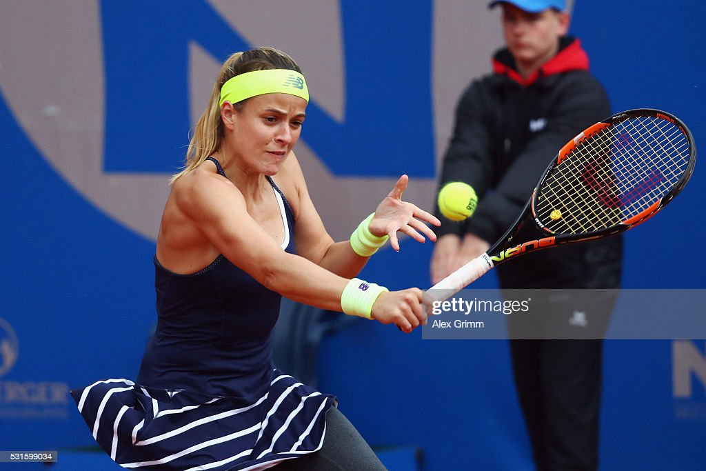 Nicole Gibbs of USA returns the ball to Kristyna Pliskova oif Czech Republic during Day Two of the Nuernberger Versicherungscup 2016 on May 15, 2016 in Nuremberg, Germany.