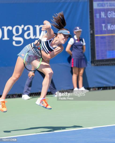 Nicole Gibbs of USA serves during qualifying day 3 against Tamara Korpatsch of Germany at US Open Tennis championship at USTA Billie Jean King...