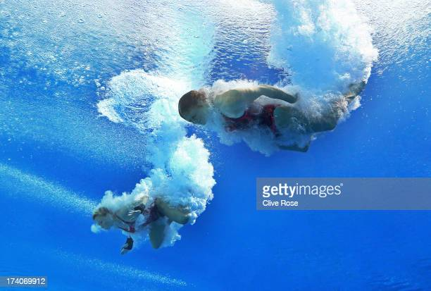 Nicole Gillis and Julia Vincent of South Africa compete in the Women's 3m Springboard Synchronised Diving preliminary round on day one of the 15th...